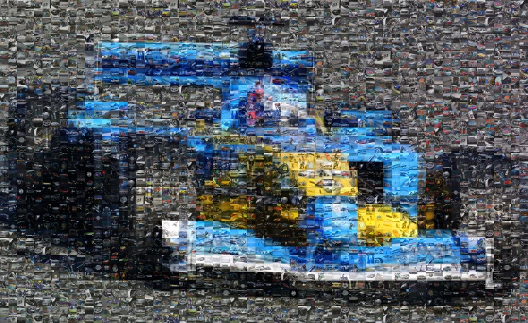 Photo mosaic example made of cars and bikes created on www.pictosaic.com - Total number of tiles: 2400 - Small format version