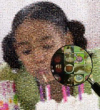 Child blowing candels photograph made of birthday images