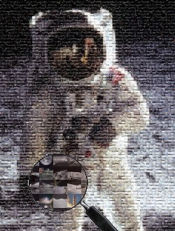 Photo-mosaic made from images of Apollo missions