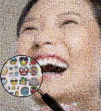 Pretty face photograph made of smileys images